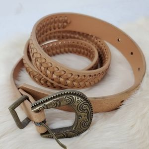 Solid Tan braided Belt Size S